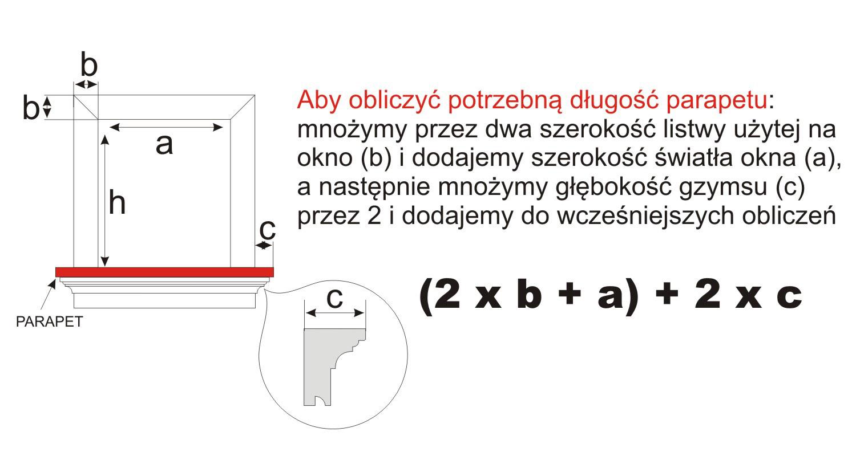 Sposób pomiaru długości parapetu